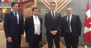 Latorcai Csaba helyettes államtitkár és Haisler András MAZSIHISZ elnök, valamint Ódor Bálint nagykövet Andrew Benettel | Fotó : Magyarország Kanadai Nagykövetsége - Facebook