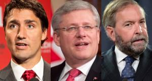 A liberális Justin Trudeau, a jelenlegi kormányfő Stephen Harper, és az Új Demokraták vezetője, Tom Mulcair