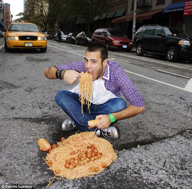 Utcai étkező, spagettivel