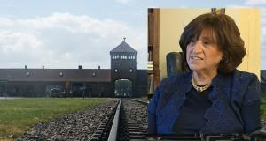 Háttér kép: Auschwitz-Birkenau főkapuja - Fotó: Remzső László | Előtérben: Orosz Angéla - CBC Video