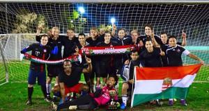 Az örömittas magyar csapat, lelkes légiósokkal a tornagyőzelem után